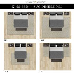 what size rug goes under a king bed - Google Search Bedding Master Bedroom, Home Decor Bedroom, Kids Bedroom, Bedroom Ideas, Cozy Bedroom, Master Bedrooms, Bedroom Inspo, Rug Size King Bed, Area Rug Placement