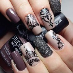 Best Ideas For Nail Art Designs To Inspire Your Imagination Nail Stamping stamping nail art avec quel vernis Lace Nail Art, Lace Nails, Edgy Nail Art, Nagel Stamping, Stamping Nail Art, Mandala Nails, Nagellack Design, Types Of Nails, Beautiful Nail Art