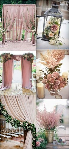 dusty rose wedding arch and centerpiece decoration ideas #weddingcolors #weddingdecor #weddingtrends #weddingideas