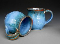 Azure blue mugs.