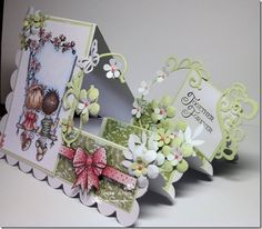 LOTV Together Forever by Jacqui Denis (Holy frikkin Hannah. Am I up for this kind of challenge? Fancy Fold Cards, Folded Cards, Side Step Card, Step Cards, Shaped Cards, Easel Cards, Marianne Design, Card Tutorials, Pop Up Cards