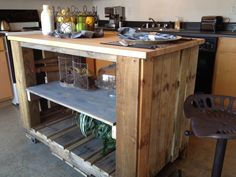 Turning a wooden pallet into a rollable kitchen island :)