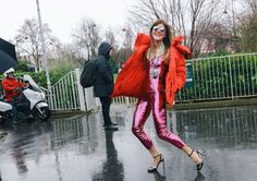 Anna Dello Russo in a Balenciaga coat and an Yves Saint Laurent jumpsuit