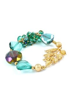 a22925238db Crystal Lilly Bracelet in Turquoise ♡ Gorgeous Clusters of Crystals mixed  in with Golden Leaf Charm.