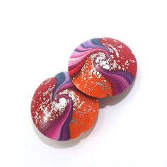 Swirl lentil beads in red orange and Purples with by ShuliDesigns, $7.00