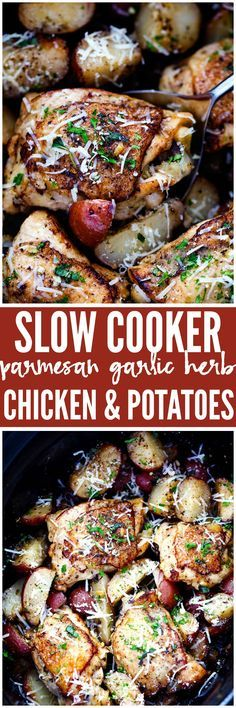 Slow Cooker Parmesan Garlic Herb Chicken is such an easy meal that is packed with amazing flavor! The potatoes cook to tender perfection in garlic, parmesan, and fresh herbs and the chicken is perfectly juicy. This makes a great meal in one!