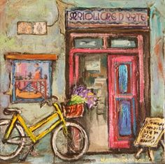 Bicycle by Karien Boonzaaier South African Artists, Like Animals, House Art, Paintings I Love, Store Fronts, Art And Architecture, Sculptures, Bicycle, Windows