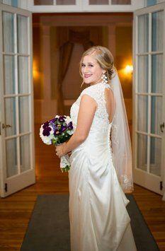 Lace Cap Sleeve Wedding Dress With Keyhole Back