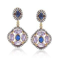 5.64 ct. t.w. Multi-Stone Drop Earrings in 18kt Gold Over Sterling