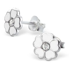 Quality 925 Sterling Silver Earrings - White 5 Petal Primrose Flower Studs w/ CZ - 8mm in Costume Jewellery, Earrings | eBay