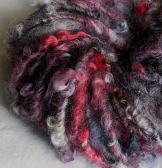 "Sheeping Beauty on Etsy. ""Joie de Vivre"" hand-spun yarn from uncarded Border Leicester locks hand-dyed by Bernadette of Headley Grange on Etsy."