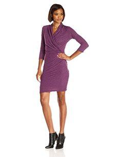 VELVET BY GRAHAM  SPENCER Womens Soft Texture Knit Surplice Dress Currant Medium -- For more information, visit image link.