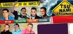 El elenco del Tsunami: Peter Manjarres, Silvestre Dangond, Felipe Peláez, Jorge Celedón, Ivan Villazón, Jorge Oñate y Penchy Castro