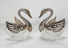 Pair of Silver Plated and Clear Glass Swan Shaped Salt Cellars (Made in Italy)