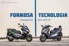 A mais vendida maxi-scooter do nosso mercado, a Sym GTS 125, enfrenta a recém chegada Kawasaki J125. Um duelo com origem em Taiwan.