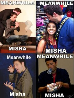 "Misha Collins.  Also that last frame is me when I go grocery shopping and don't get a basket because ""I only need one thing"""