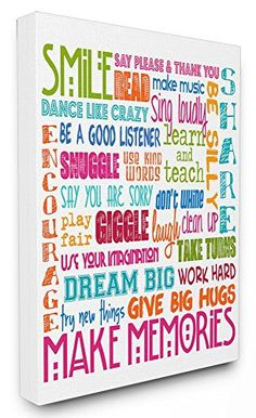 The Kids Room by Stupell Smile Make Memories Rainbow Canvas Wall Art