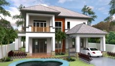 Home Design Plan with 4 Bedrooms. This villa is modeling by SAM-ARCHITECT With 2 stories level. It's has 4 bedrooms. Small Cottage House Plans, Dream House Plans, House Floor Plans, Villa Plan, Modern Bungalow House, Modern Villa Design, Architectural House Plans, Model House Plan, Duplex House Design