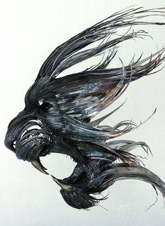 虎(トラ)の金属彫刻
