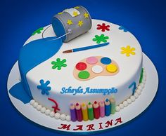 Topo de bolo pintando o sete  Contém: 01 lata de tinta. 01 pincel, 8 lapis de cor e 01 aquarela.  Para decoração de bolo  Foto do bolo ilustrativa para visualização de como ficam as peças depois de montadas no bolo, bolo feito por SCHEYLA ASSUMPÇÃO