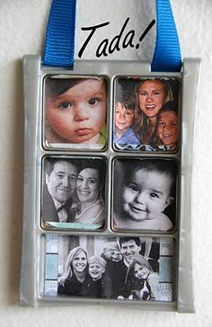 upcycled eye shadow case picture frame. also she mixes the old eye shadow with glue to make paint.
