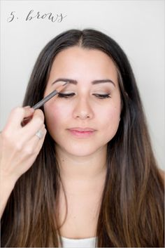 Step 5. Perfecting your brows. Learn how to diy wedding brows. ---> http://www.weddingchicks.com/2014/06/06/flawless-bronzed-diy-wedding-makeup/