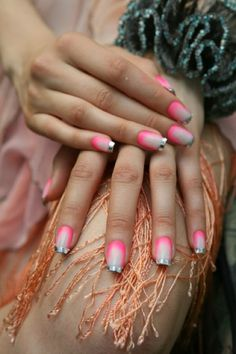 Nails dipped in Chrome - Diego Binetti Spring 2012 Collection Presentation, NYFW