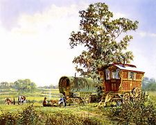 Gypsy Living Traveling In Style Irish Gypsies Art | Art Print Victorian Irish Tinker Traveler GYPSY Cob Horse Wagon ...