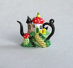 Miniature Fairy Toadstool House Colony Teapot