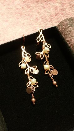 Freshwater Pearl Rose Gold Branch Drop Earrings / Brass Jewelry Gift Idea