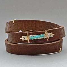 Love this idea from Artbeads! Awesome!! Turquoise Drops Leather Wrap Bracelet - Elizabeth Plumb Jewelry