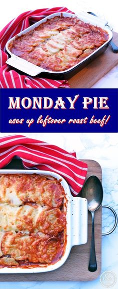 Monday Pie - great for using up leftover roast beef! Fab Food 4 All Leftover Beef Recipes, Leftover Roast Beef, Roast Beef Recipes, Beef Recipes For Dinner, Leftovers Recipes, Entree Recipes, Vegan Recipes Easy, Cooking Recipes, Tofu Recipes