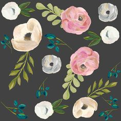 """August Floral Grey - 8"""" fabric by shopcabin on Spoonflower - custom fabric"""