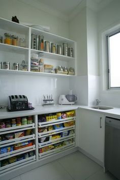 butlers pantry drawers and open shelves