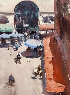 Joseph Zbukvic - watercolor of a Venetian plaza street