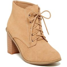 Nature Breeze Avery Bootie ($18) ❤ liked on Polyvore featuring shoes, boots, ankle booties, ankle boots, beige, stacked heel ankle boots, beige boots, lace up bootie, laced ankle boots and lace up ankle boots
