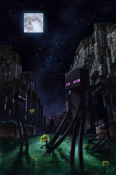 Minecraft - realistic nighttime scene with endermen picking flowers Minecraft Mobs, Minecraft Legal, Photo Minecraft, Minecraft Kunst, Minecraft Posters, Minecraft Drawings, Minecraft Pictures, Minecraft Fan Art, How To Play Minecraft