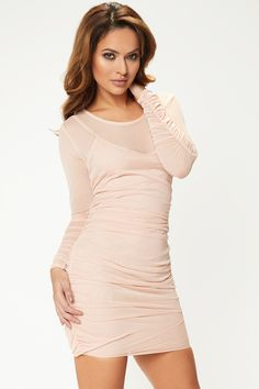 Witney Nude Mesh Ruched Mini Dress