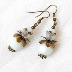 lucite flower earrings in white and bronze by minouc on Etsy, 10.00