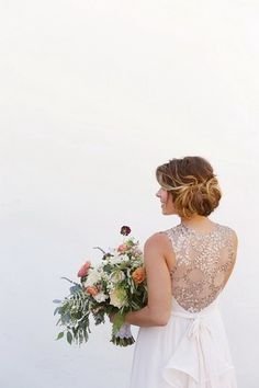 Elegant wedding dress idea - flowing gown with gold, illusion lace back {Kimberlee Miller Photography}