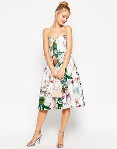 ASOS Pretty Floral Rose Bandeau Midi Prom Dress