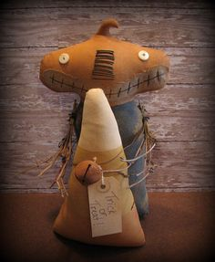 Primitive Stumpy Pumpkin Head Doll Halloween by ThatSallie on Etsy, $25.00