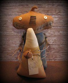 Primitive Stumpy Pumpkin Head Doll Halloween by ThatSallie on Etsy, $25.00