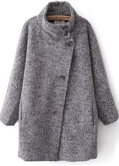 Grey Long Sleeve Stand Collar Loose Coat pictures