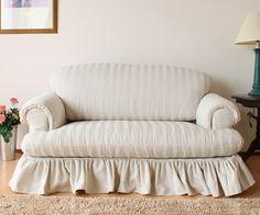 country sofa  フレンチカントリー カバーリングソファ 2人掛け/DY046-1生地使用/裾フリルタイプ