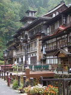 Ginzan-onsen, Obanazawa, Yamagata, Japan My dads mission! Japanese Architecture, Beautiful Architecture, Art Asiatique, Yamagata, Visit Japan, Japanese House, Japanese Culture, Kyoto, Brunei