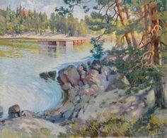 Helmi Biese (Finnish, 1867 - Coastal view (via Bukowskis) Helene Schjerfbeck, Coastal, Helmet, Photo Wall, Water, Artist, Painting, Finland, Sweden