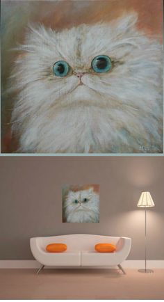 Cat lover gift for her Persian cat decor painting cute cat lady gift for girlfriend white cat wall art canvas unique wall decor