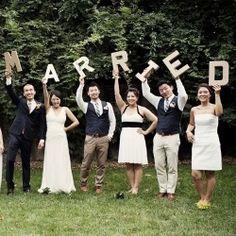 """""""Married"""" letters groom/bride/best man/maid of honor"""