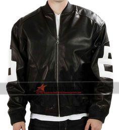Men 8 Ball Bomber Black Leather Jacket
